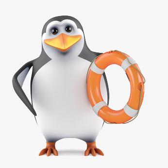 Un pingouin et sa bouée