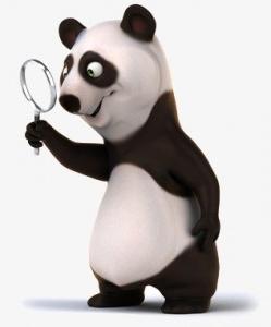Un panda et sa loupe
